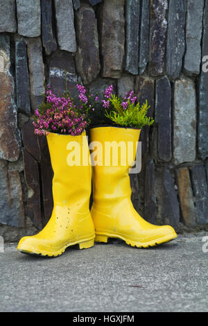 Colourful wellington boots filled with flowers adorn the houses, gateways and doorways of the Irish seaside village - Stock Photo