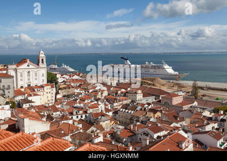 Lisbon, Portugal: View of the Alfama neighborhood from the Miradouro de Santa Luzia. - Stock Photo