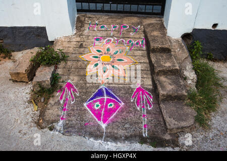 HYDERABAD, INDIA - JANUARY 14,2017 Decorative floral patterns known as Rangoli outside a home on Pongal festival - Stock Photo