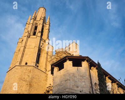 Cathedral San Feliu of Girona, Catalonia, Spain - Stock Photo