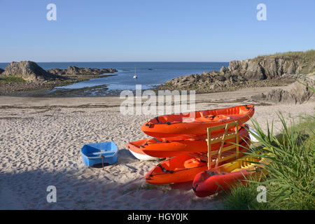 Beach and small boats at Le Pouliguen in Pays de la Loire region in western France - Stock Photo