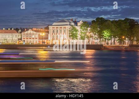 night view of university in St. Petersburg, Russia - Stock Photo