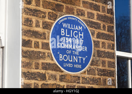 London, Lambeth   A plaque commemorating Captain William Bligh of the Bounty on a house in Lambeth Road - Stock Photo