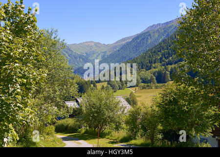 Mountain and trees at Le Lavancher, commune near of Chamonix in the French Alps in the Haute-Savoie department of - Stock Photo