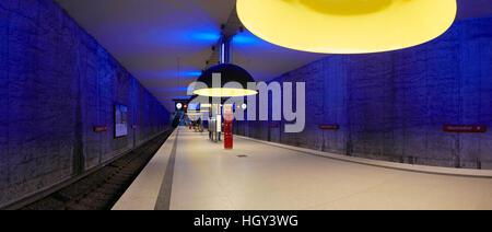 Germany Munich Westfriedhof subway underground Metro station interior - Stock Photo