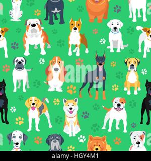 Seamless pattern with dogs flat design - Stock Photo