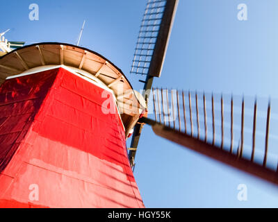 Greetsiel, Germany - November 4, 2011: Traditional Dutch windmills working and still used to grind. The green, western - Stock Photo