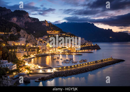 Early morning twilight view of Amalfi, Gulf of Salerno, Campania, Italy - Stock Photo