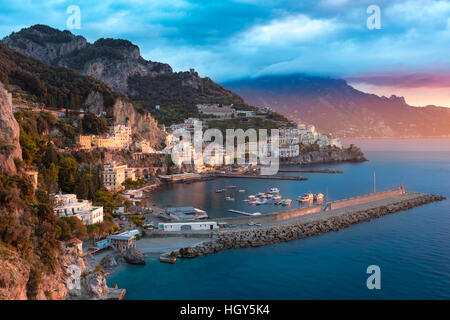 Sunrise view of Amalfi, Gulf of Salerno, Campania, Italy - Stock Photo