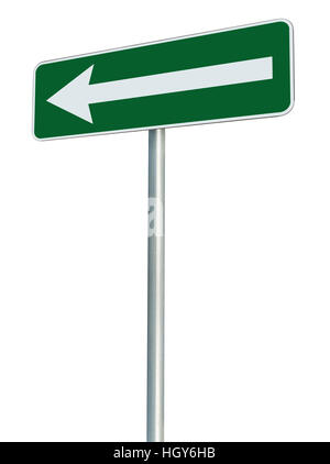 Left traffic route only direction sign turn pointer, green isolated roadside signage perspective, white arrow icon - Stock Photo