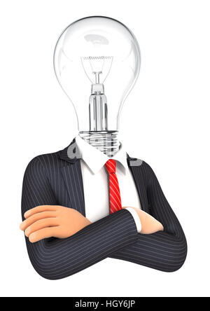 3d businessman with light bulb head, illustration with isolated white background - Stock Photo