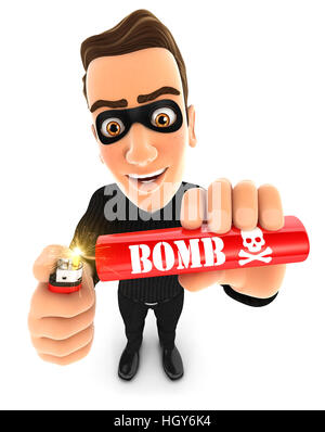 3d thief lighting a stick of dynamite, illustration with isolated white background - Stock Photo