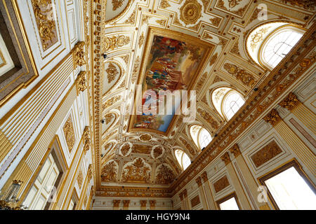 Caserta, Italy - July 29th, 2016 : Decorated roof in the throne room, Royal Palace of Caserta, Campania, Italy. - Stock Photo