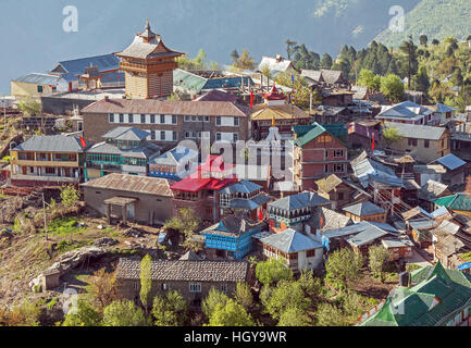 Picturesque view of Kalpa village (2960 m) at sunrise. Spiti valley, Himachal Pradesh, India. - Stock Photo