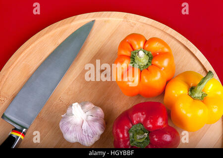 bell pepper on a chopping board - Stock Photo