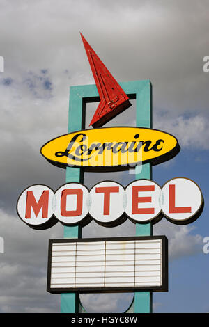 Lorraine Motel, Memphis, Tennessee, USA. Close up of exterior neon sign