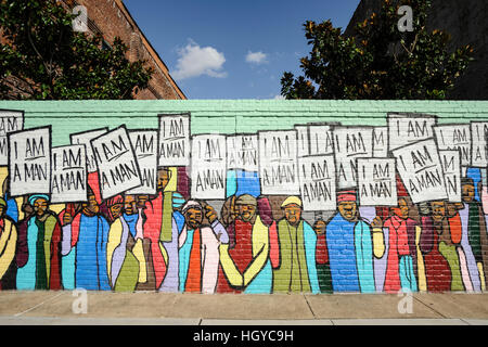 Mural painting depicting civil rights protesters, Memphis, Tennessee, USA - Stock Photo