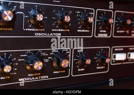 Control panel of a retro vintage electronic music synth - Stock Photo
