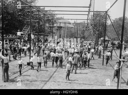 Children at Public Playground, Tompkins Square Park, New York City, New York, USA, Bain News Service, 1908 - Stock Photo