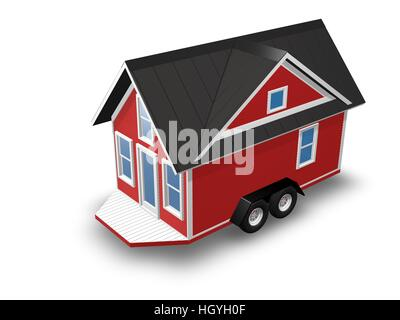 3D Rendered Illustration of a tiny house on a trailer.  House is isolated on a white background. - Stock Photo