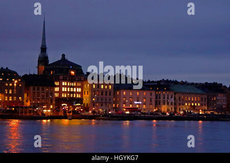 Evening view of the Gamla Stan (The Old Town) in Stockholm, Sweden - Stock Photo