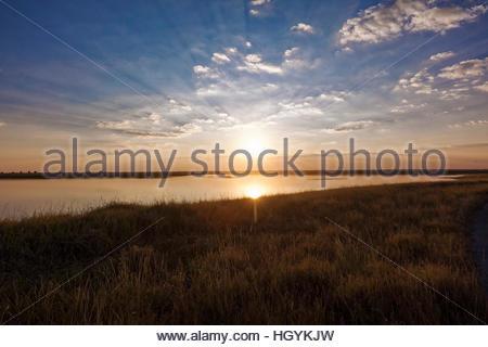 Sunset, Nata Bird Sanctuary, Botswana - Stock Photo