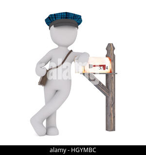 Faceless cartoon mailman character standing next to wooden mailbox with bag and peaked cap, 3D render isolated on - Stock Photo