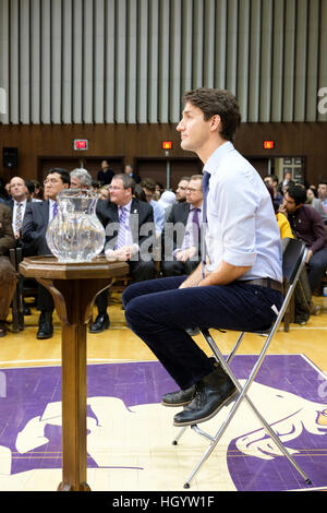 London, Ontario, Canada, 13th January, 2017. Justin Trudeau, Prime Minister of Canada, listens to a question in - Stock Photo