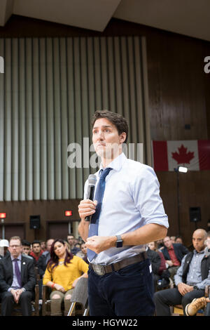London, Ontario, Canada, 13th January, 2017. Justin Trudeau, Prime Minister of Canada, speaks in a town hall Q&A - Stock Photo