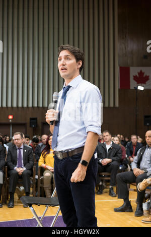 London, Ontario, Canada, 13th January, 2017. Justin Trudeau, Prime Minister of Canada, participates in a town hall - Stock Photo