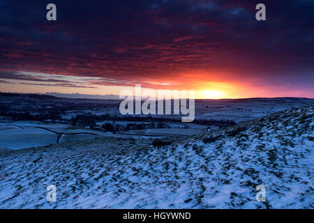 Kirkcarrion, Teesdale, County Durham UK. Saturday 14th January 2017. UK Weather.  It was a frosty and snowy start - Stock Photo