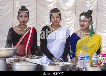 Kathmandu, Nepal. 14th Jan, 2017. Nepalese women from Tharu community in traditional attires participate in a celebration - Stock Photo