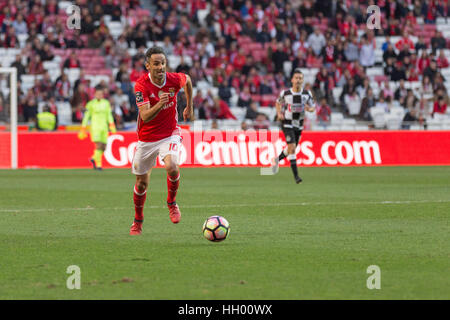 Lisbon, Portugal. 14th January, 2017.Benfica's forward from Brazil Jonas (10) in action during the game SL Benfica - Stock Photo