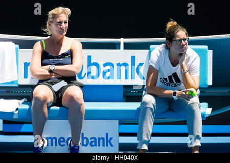 Melbourne, Australia. 15th January 2017. Barbara Rittner (li.), coach of the german Fed Cup team and fitness coach - Stock Photo