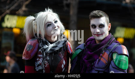 Calgary, Alberta, Canada - April 17 2015: The Joker and Harley Quinn at the Calgary Comic an Entertainment Expo - Stock Photo