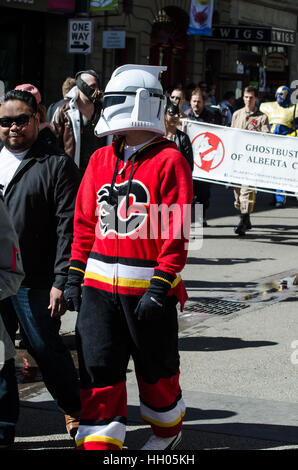 Calgary, Alberta, Canada - April 17 2015: Calgary Flames clone troop cosplay from the Calgary Comic an Entertainment - Stock Photo