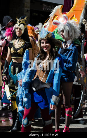 Calgary, Alberta, Canada - April 17 2015: Collection of female cosplayers at the Calgary Comic and Entertainment - Stock Photo
