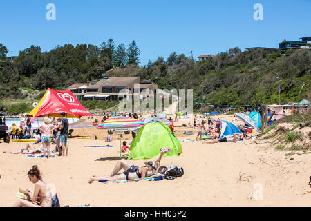 Summers day on Warriewood beach, one of Sydney's famous northern beaches,Australia - Stock Photo