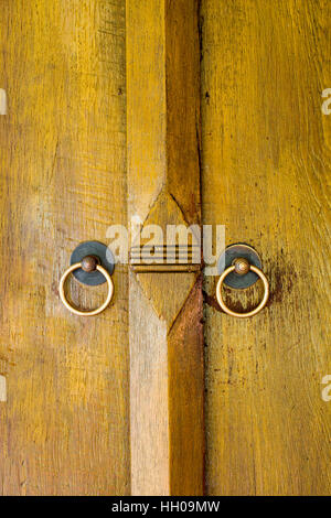 ... Wooden panels or door of Thai style house with brass doorknockers attached - Stock Photo & Old style of Thai Door Stock Photo Royalty Free Image: 62228636 ... Pezcame.Com