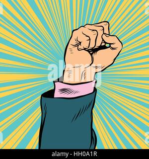 Pop art fist up, a symbol of protest - Stock Photo