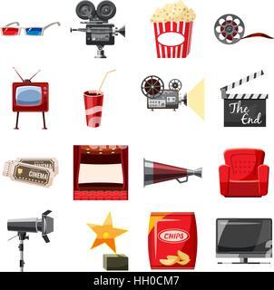 Cinema icons set in cartoon style - Stock Photo
