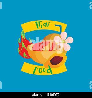 Thai food icon in flat style - Stock Photo