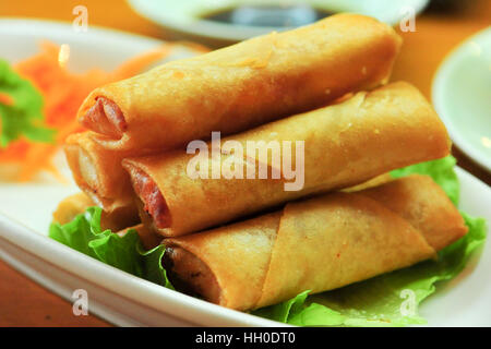 Deep fried spring rolls, a Chinese cuisine - Stock Photo