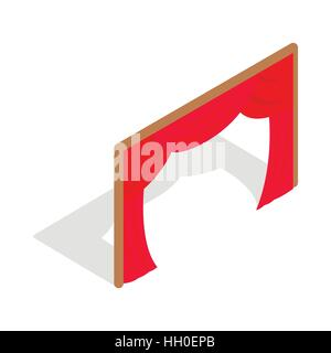 Stage curtains icon, isometric 3d style - Stock Photo