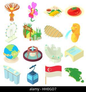 Singapore icons set, cartoon style - Stock Photo