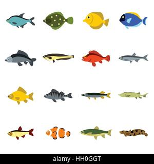 Fish icons set, flat style - Stock Photo