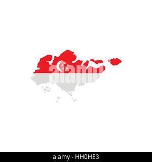 Singapore flag map icon, flat style - Stock Photo
