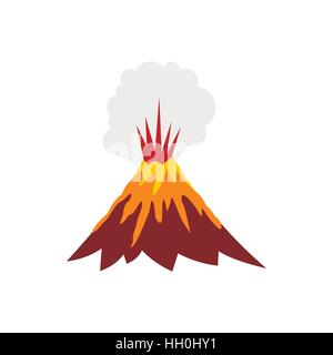 Vector flat style illustration of volcano eruption with smoke and eruption of volcano icon flat style stock photo pronofoot35fo Images