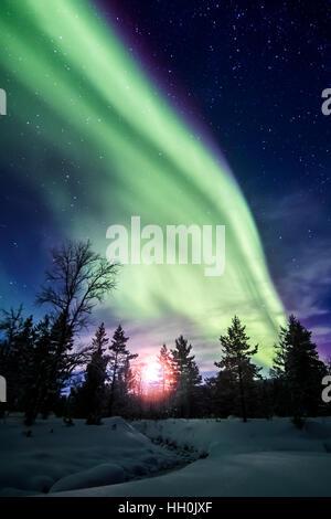 Northern lights in Urho Kekkonen national park, Finland - Stock Photo