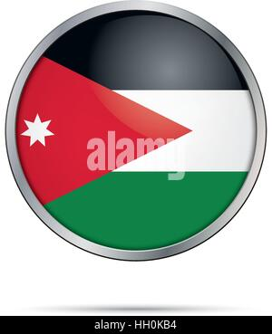 Vector Jordanian flag Button. Jordan flag in glass button style with metal frame. - Stock Photo